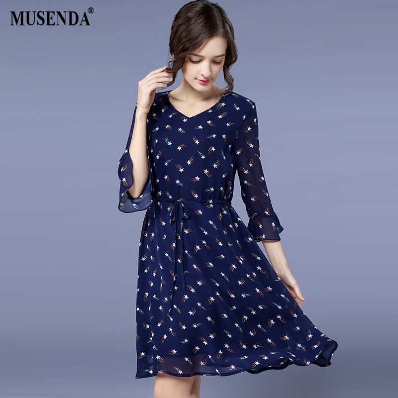 MUSENDA Plus Size Women Royal Blue Chiffon Print Drawstring Waist Draped Dress 2018 Spring Female Lady Sweet Beach Dresses Robe
