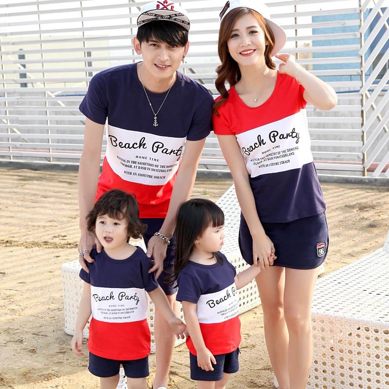 be71aebbe 2016 Hot Matching Mãe Filha Filho Pai Roupas Definir Família olhar T-Shirt  E Calções Definir Plus Size XXXL T-shirt E calções