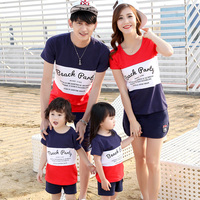2016 Hot Matching Mother Daughter Father Son Clothing Set Family Look T Shirt And Shorts Set