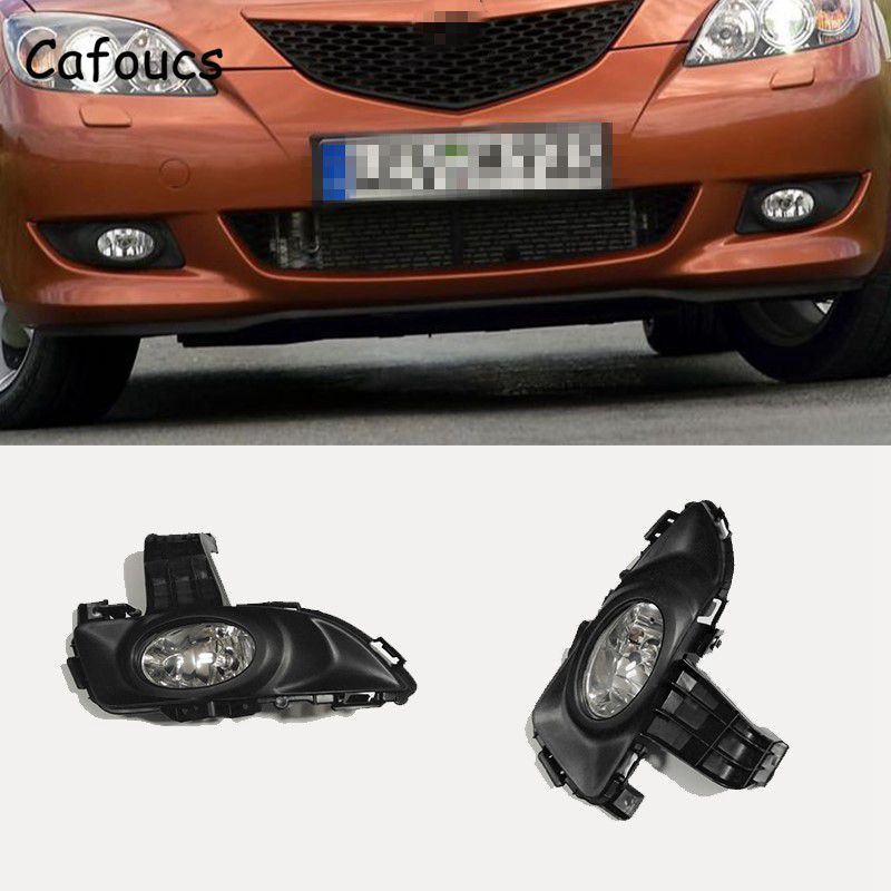 Cafoucs For Mazda 3 2003-2006 4 Door Sedan Front Bumper Fog Light with Cover Bracket and Bulbs BN8P-51-690A BN8P-51-680A