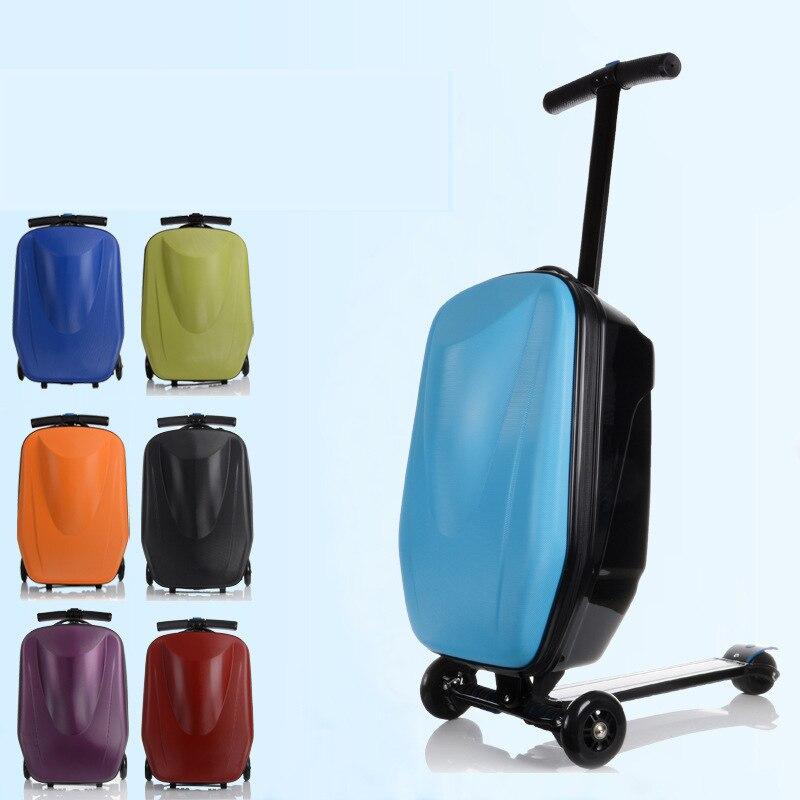 Polegada Pasword 21 Bloqueio Bagagem Scooter de Mala De Alumínio Com Rodas de Skate Rolando mala de Viagem Da Bagagem Do Trole Caso