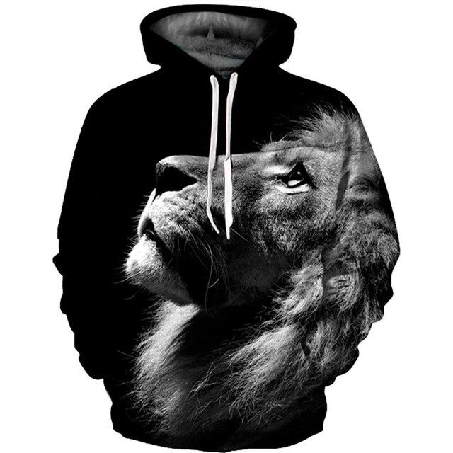 Animal Wolf Print 3D Hoodie Mens Funny Winter Autumn Pullover Tiger Sweatshirt Hooded Long Casual Street Lion Bape Hoodies Men B