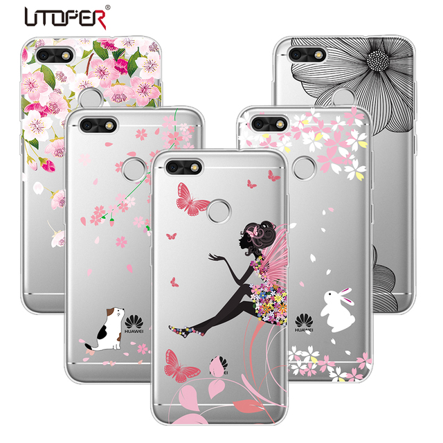 utoper coque pour huawei y6 pro 2017 couverture pour huawei p9 lite mini cas fleur de silicium. Black Bedroom Furniture Sets. Home Design Ideas