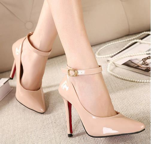 b42d5e7495 Elegant sexy ankle strap bright patent leather pointed toe thin heel nude  pumps classics women party shoes size 35 to 40