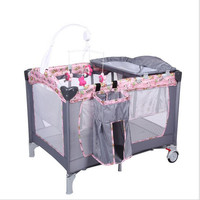 Diaper Changing Stations Newborn Girl&Boy Bed Cribs Portable Foldable Playpen Crib Child Alloy Double Folding Cot with 2 Wheel