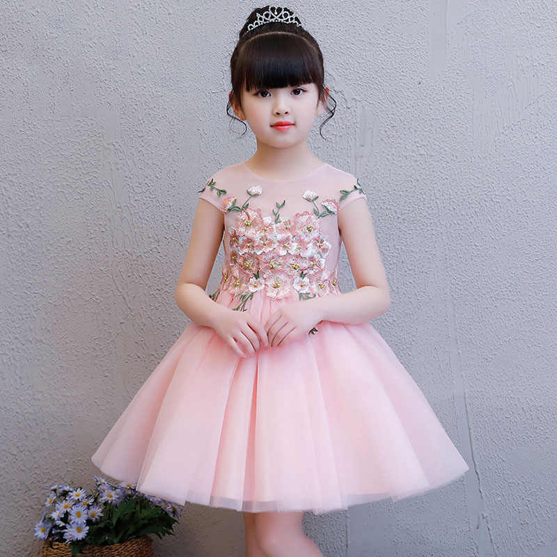 9b0670d0a7e 1-8 Years Pink Princess Dress Embroidery Flower Girl Dresses for Wedding  Ball Gown Kids