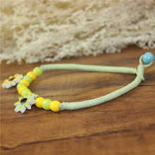 Free shipping small fresh daisy ceramic anklets elegant female fine jewelry Chinese style watch women sterling-silver-jewelry