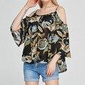 MICOMICO Новый Женский Сексуальный Летом Пляж Мода Свободные Цветочные С Плеча Рубашки С Коротким Рукавом Оборками Подол Блузки Топы