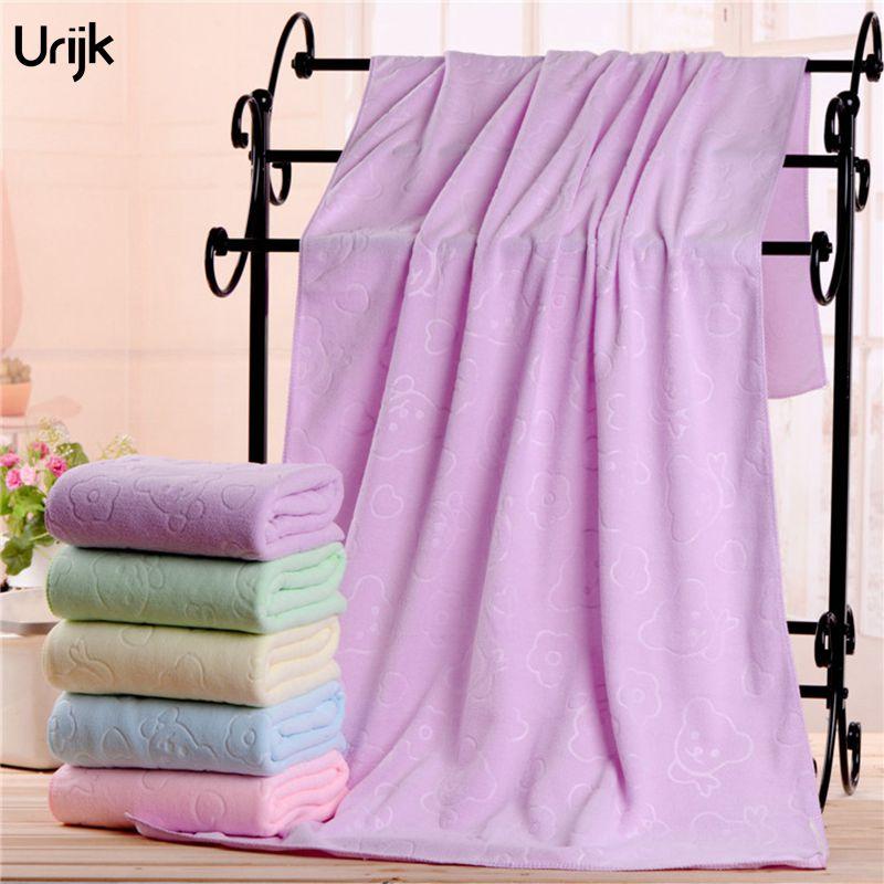 Wholesale Microfiber Bath Towels: Urijk 1PC Wholesale 70*140cm Beach Towel Bear Print Solid