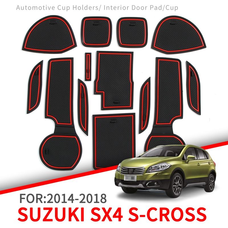 Car Gate Slot Non-slip Cup Pad Door Groove Mats for Suzuki SX4 S-Cross 2014-2018