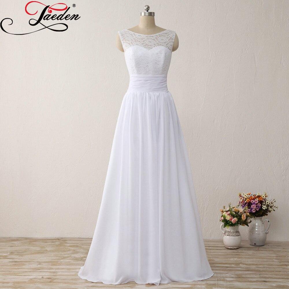 Real Simple Weddings 2017: JAEDEN Cheap White Chiffon Beach Wedding Dresses Lace
