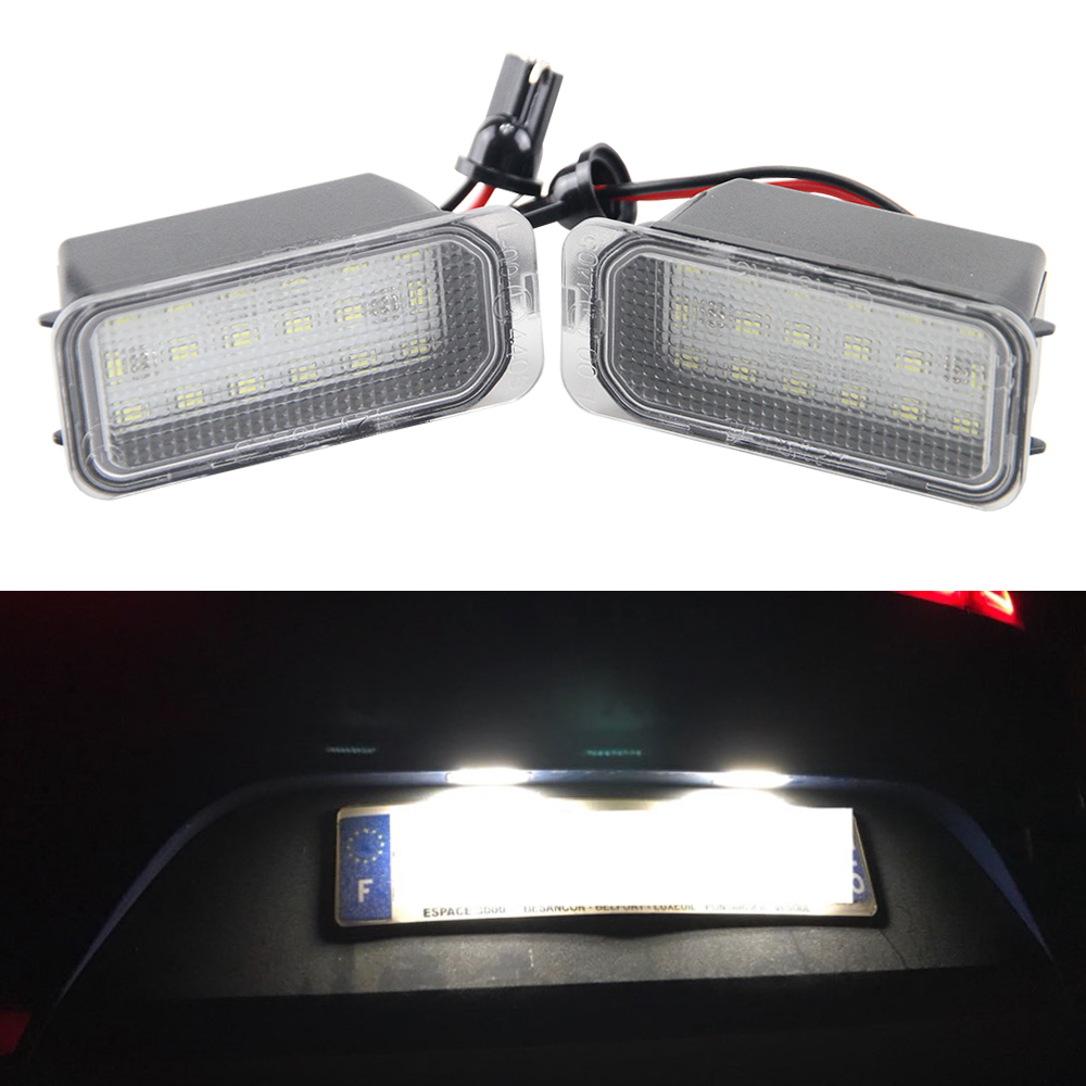 1Pair Led License Number Plate Light 18 SMD LED Lamps Replace For Ford Fiesta S-MAX Crand C-max Kuga Mondeo Canbus 2 car styling error free led rear license plate light for ford fiesta ja8 focus da3 dyb s max c max mondeo kuga jaguar auto lamp