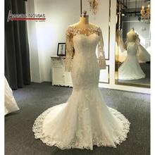 فستان عروس بسيطة الدانتيل حورية البحر فستان الزفاف 2019