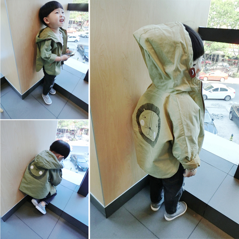 16 autumn male female child cartoon child with a hood trench outerwear baby 100% cotton trench