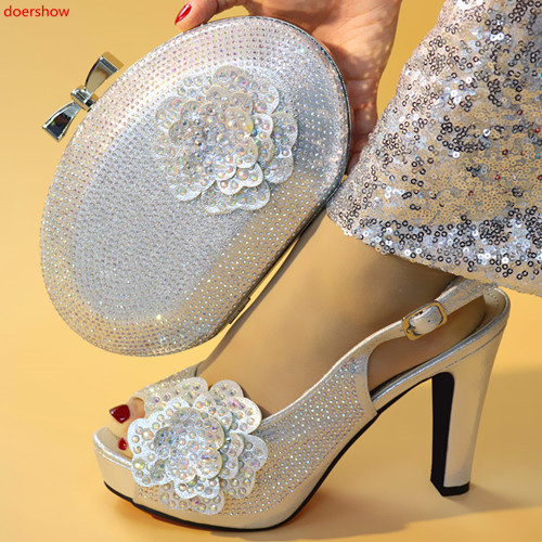 doershow silver Matching Shoes and Bags Italian In Women Nigerian Party Shoe and Bag Sets Women Shoes and Bag Set Italy !HXX1-15