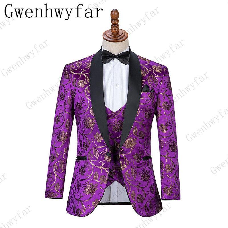 Gwenhwyfar di Nuovo Disegno Viola Con Fiore D'oro Abiti Reale Modello di Cambiamento di Colore di Cerimonia Nuziale di Usura di Inverno Indossare Abiti Sposo-in Completi uomo da Abbigliamento da uomo su  Gruppo 2