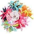 2 Pcs Per Pair Colorful Curler Ribbon Kids Hair ties Baby Girls' Elastic Hair Bands rings accessories