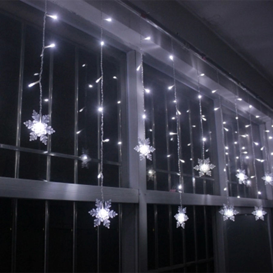 Snowflake Curtain Light 3.5M 96 Leds Holiday Lights Garland Fairy Lamp Wedding Garden Decoration Drop Ship