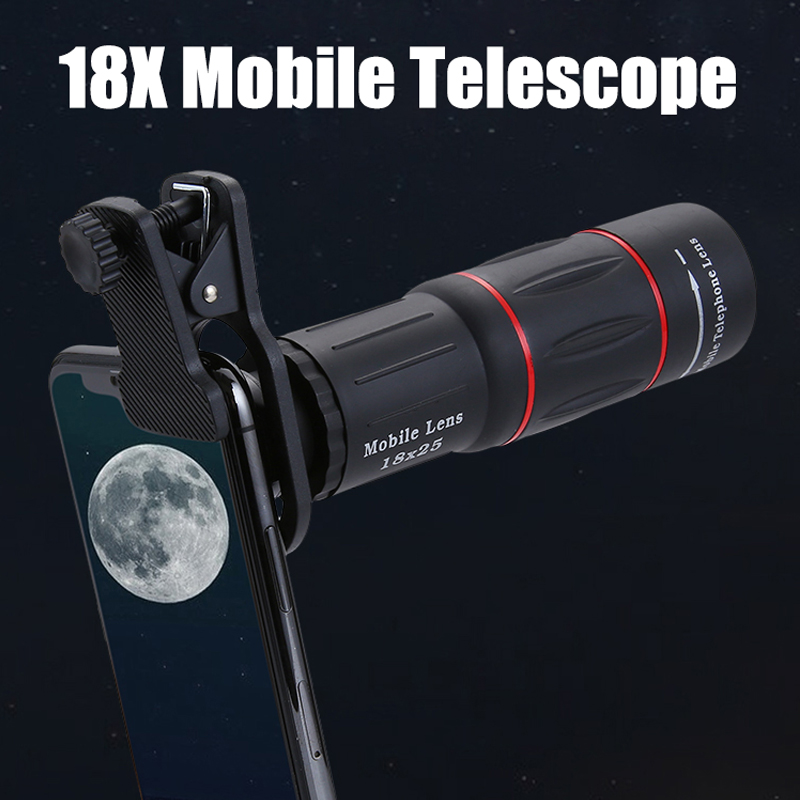 18x25 Monocular Zoom HD Optical Cell Phone <font><b>Lens</b></font> Universal Observing Survey <font><b>18X</b></font> Telephoto <font><b>Lens</b></font> With Tripod For Smartphone image