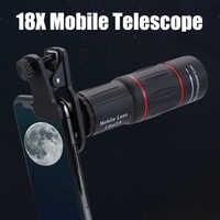 18x25 Zoom Monocular HD lente de teléfono móvil óptico de observación Universal lente teleobjetivo de 18X con trípode para Smartphone