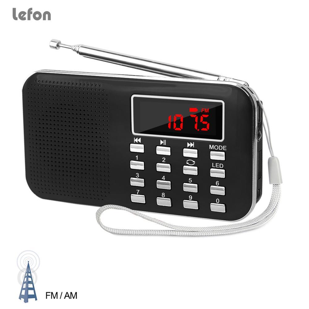 Lefon Small Radio AM FM Portable USB Rechargeable MP3 Music Player Support TF/SD Card LED Display Screen Emergency Flashlight