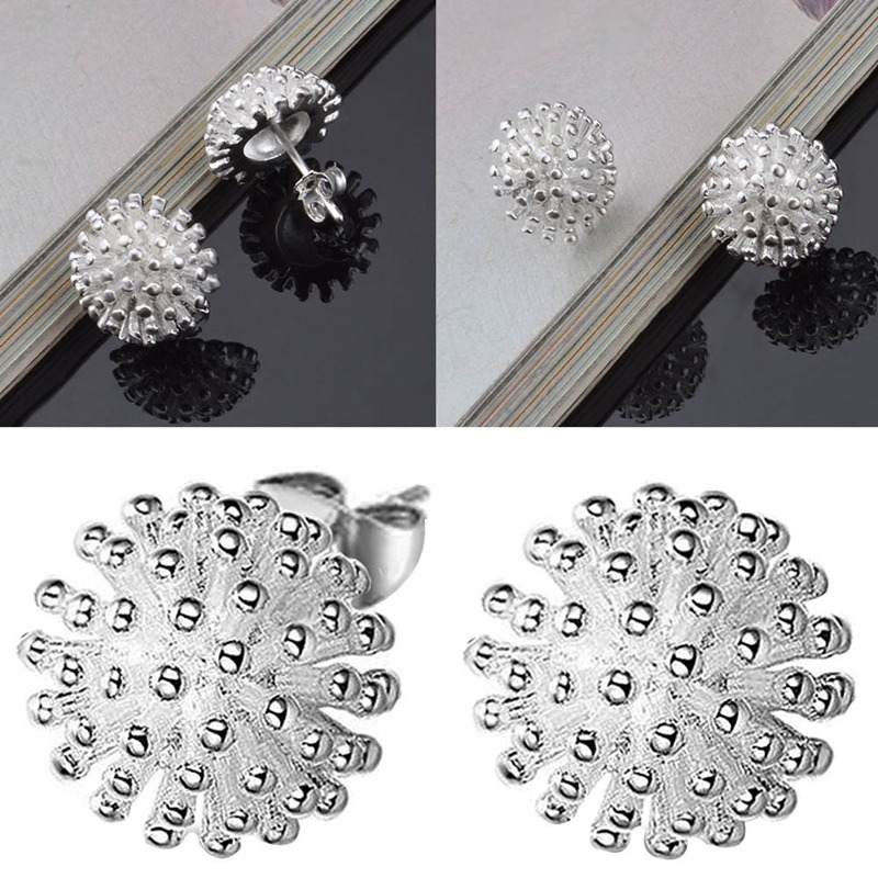 1 Pair Fashion Fireworks Flower Silver Plated Jewelry Women Female Wedding Rings