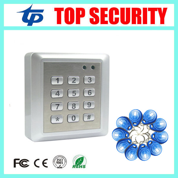 Waterproof door access control reader waterproof keypad face plate smart card 125KHZ RFID card access control system with ID key smart card reader door access control system 125khz smart rfid card proximity card door access control reader 10pcs rfid keys