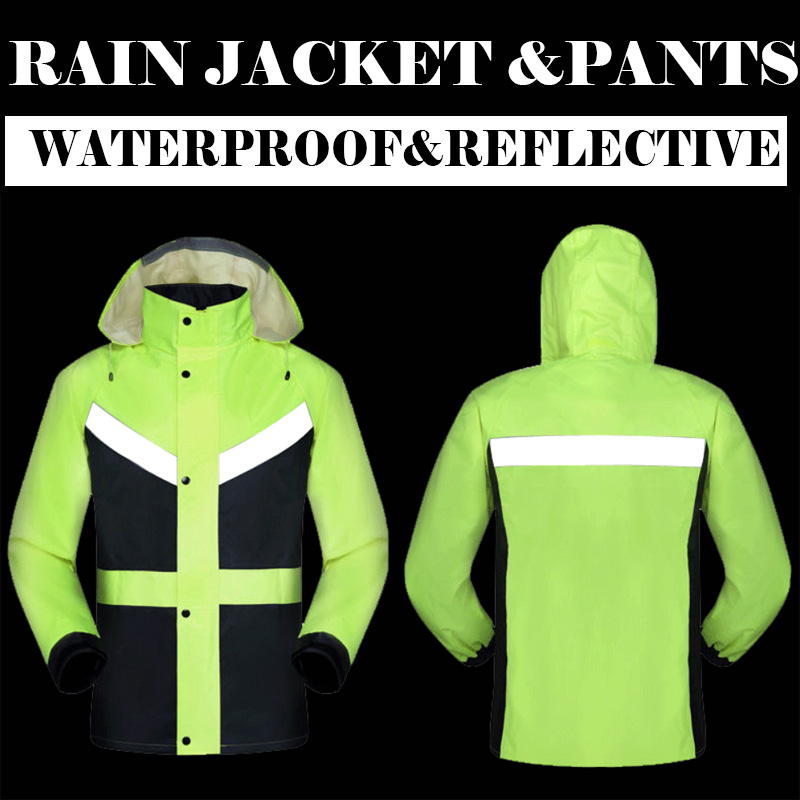 Hi viz traffic road jacket and pants split raincoat with reflective tapes rain suit rainwear jacket & pants M-3XL free shipping  reflective raincoat rain pants waterproof single raincoat men and women for riding working free shipping