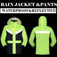 Salut à savoir trafic route veste et pantalon split imperméable avec bandes réfléchissantes combinaison de pluie vêtements de pluie veste et pantalon M-3XL livraison gratuite