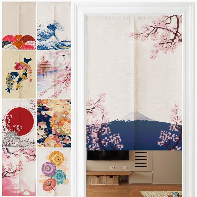 Japanese Ukiyo-e Linen Door Curtain Noren Bedroom Kitchen Curtains Home Entrance Decoration Customizable Curtain