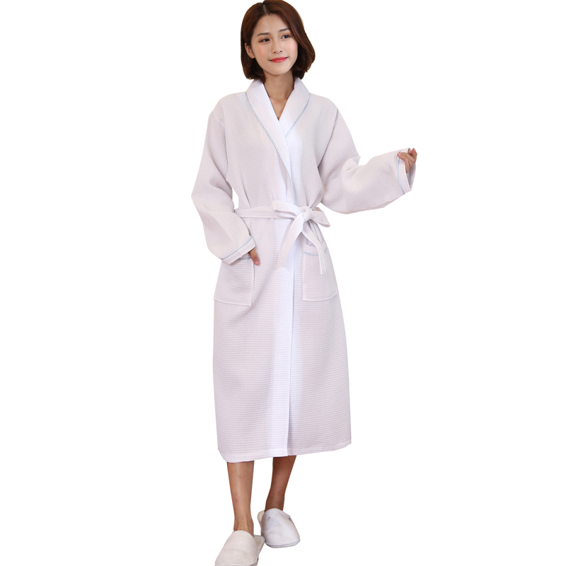 Hot Sale Women Autumn New Suck Water Kimono Bath Robe Plus Size Sexy Waffle  Bathrobe Ladies adfafd6c5