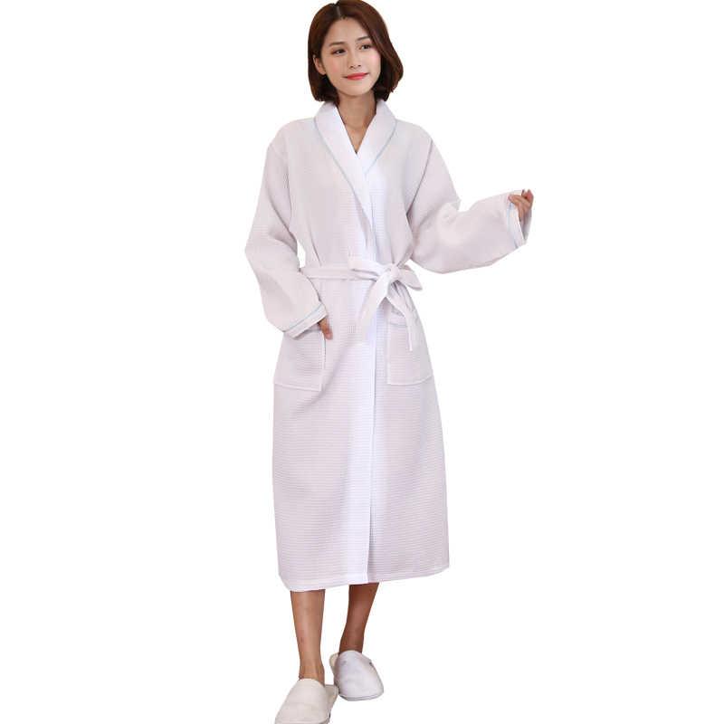 Hot Sale Women Autumn New Suck Water Kimono Bath Robe Plus Size Sexy Waffle Bathrobe  Ladies 2ebee4a83