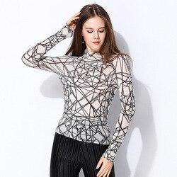 2019 ربيع جديد تصميم منظور مثير طباعة المرأة تي شيرت ، الأسود والأبيض الأزياء قميص ايسي مياكي مرونة أضعاف النسيج