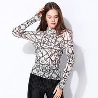 2019 Spring New Design Perspective Sexy Print Women's T shirt, Black and White Fashion Shirt ISSEY MIYAKE Elastic Fold Fabric