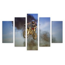Home Decoration Print Painting Framework Wall Art Poster Modern 5 Panel Motorcycle Living Room Canvas HD Modular Pictures