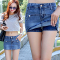European British style women cowboy denim shorts skirts quality fashion vintage plus size S-3XL false two pieces culotte G46