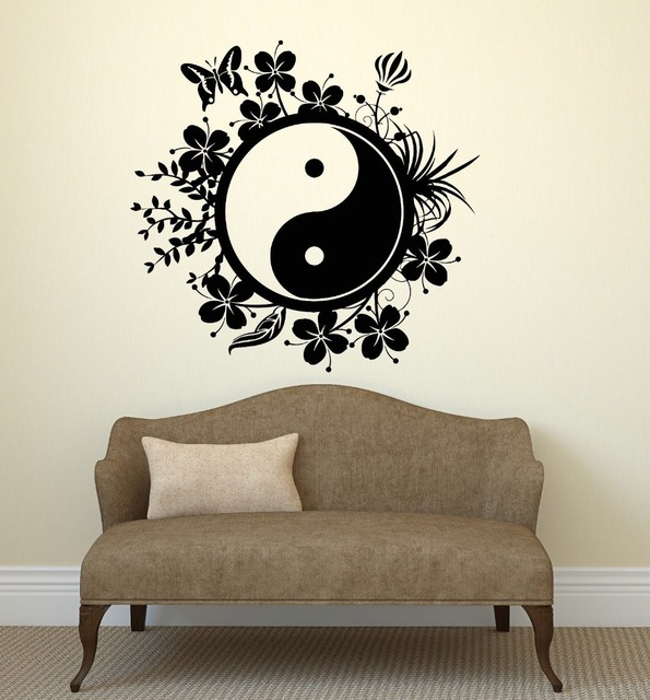 Wall decal chinese style vinyl sticker tai chi philosophy butter flower bedroom living room home house