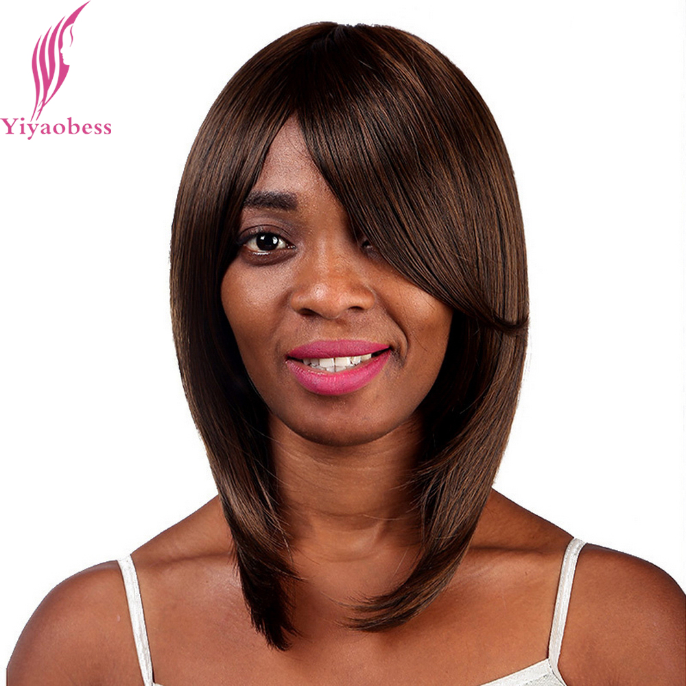 Yiyaobess 35cm Straight Shoulder Length Black Brown Bob Wigs For African American Women Heat Resistant Synthetic Natural Hair