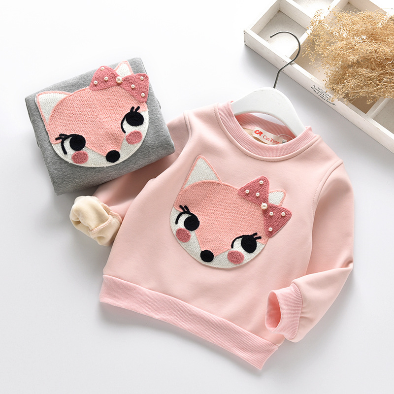 Warm Thick Girls Sweatshirts Winter Round Neck Long Sleeve Tops Tees Children Clothes Todder Boby Kids Plus Velvet Fox T-shirts