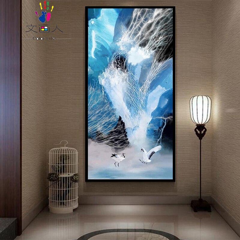 Blanc grue scène Animal photo entrée Hoom décor grande taille peinture à l'huile coloriage par numéros avec kits sur toile dessiner travail manuel