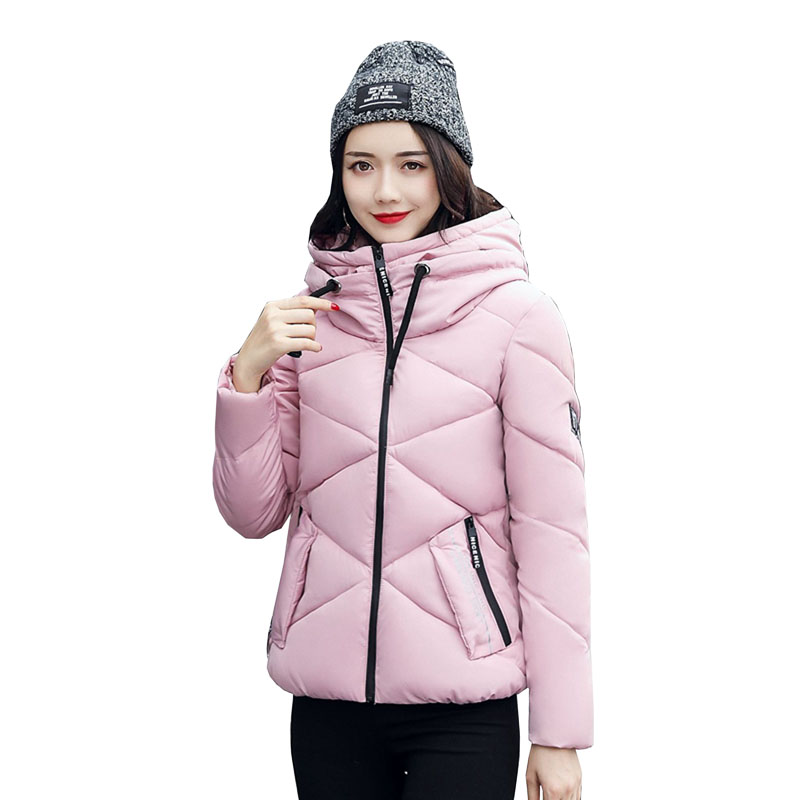 Winter Jacket Women Cotton Short Jacket 2017 New Girls Padded Slim Hooded Warm Parkas Stand Collar Coat Female Outerwear 4L37 купить
