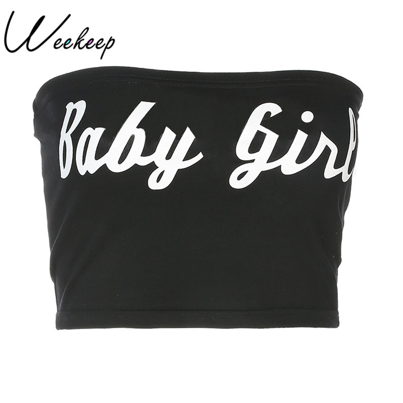Weekeep Sexy Letter Print Tube Top 2018 Summer Black Bandeau Cropped Cotton  Boob Tube Streetwear Strapless