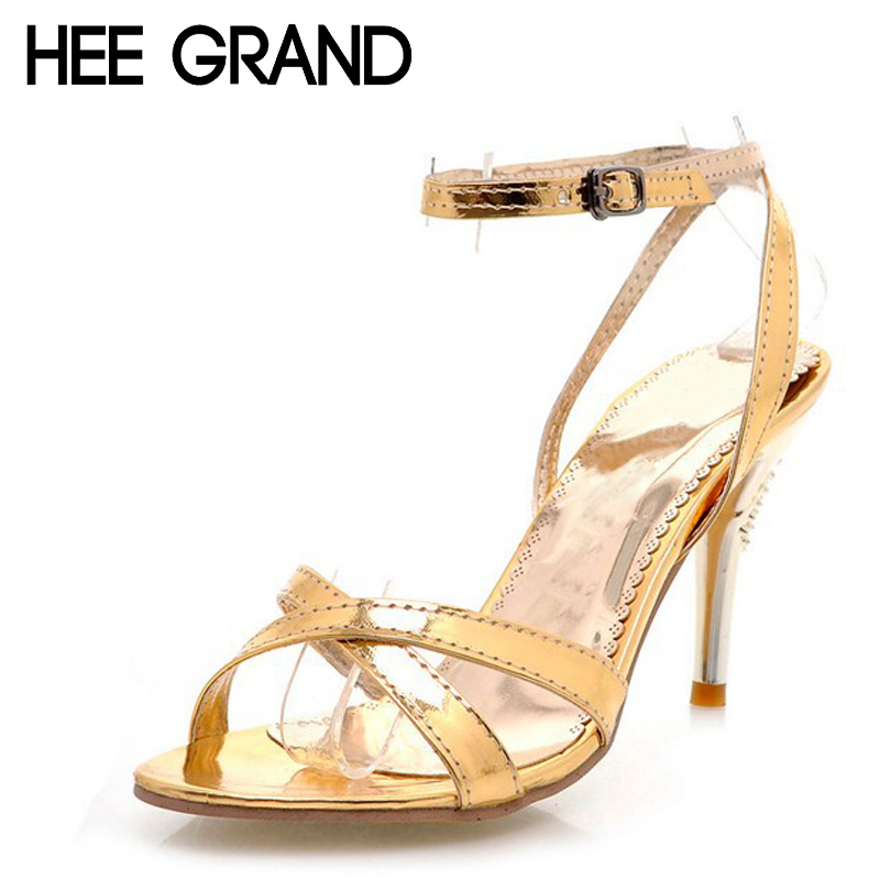 HEE GRAND 2017 Summer Sandals Women's Patent Leather Thin Heels Pumps Ankle Strap Rome Shoes Woman For Party Size Plus XWZ222 new arrival black brown leather summer ankle strappy women sandals t strap high thin heels sexy party platfrom shoes woman