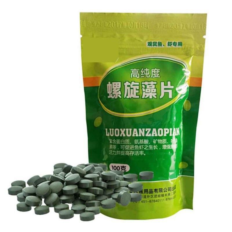 100g Fish Food Algae Tablet Shrimp Fish Feed Spirulina Tablets Aquarium Tank Pet Feed Supplies Expandable Slow Disintegration
