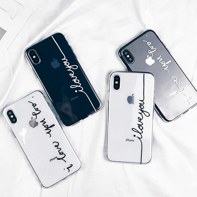 Letter Print Lovers Phone Case For iPhone X XS MAX XR Case Ultra thin Soft TPU  Clear Back Cover For iPhone 6S 6 7 8 Plus Cover b3c8b5cdc86