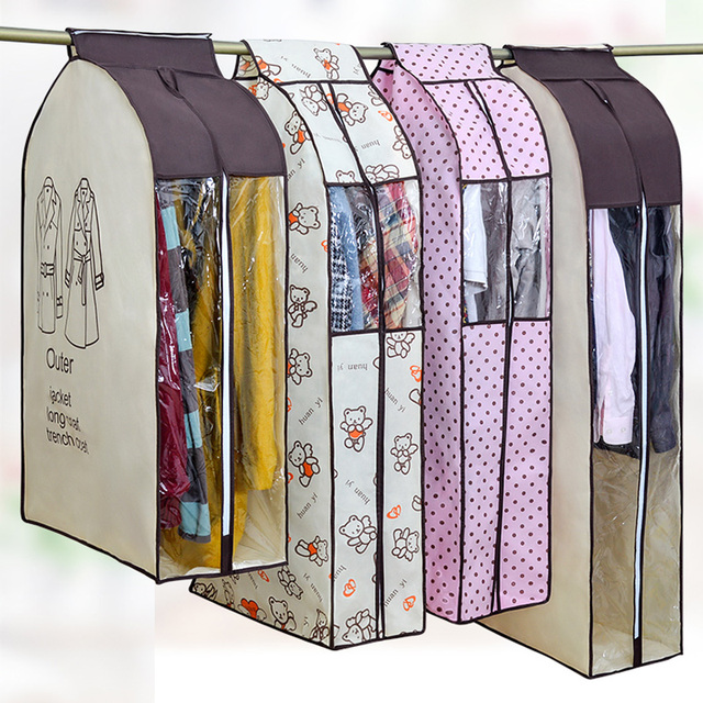 Dustproof Clothes Cover for Garment Suit Dress Coat Cloth Protector Big Clothes Case Pouch Home Storage Organize Bags Beige