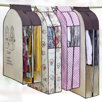 Pyłoszczelny pokrowiec na ubrania do odzieży garsonka płaszcz tkaniny Protector duże ubrania etui etui przechowywanie w domu organizuj torby beżowy tanie i dobre opinie CN (pochodzenie) GC002 PORTRAIT PRINTED Futon Koreański