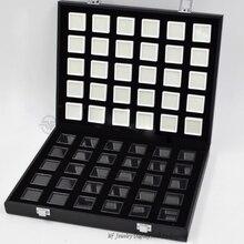 Портативный черный Pu дорожный драгоценный камень коробка драгоценный камень чехол для хранения ювелирных изделий лоток каменный держатель Органайзер с 60 шт. 3x3 см алмазные коробки