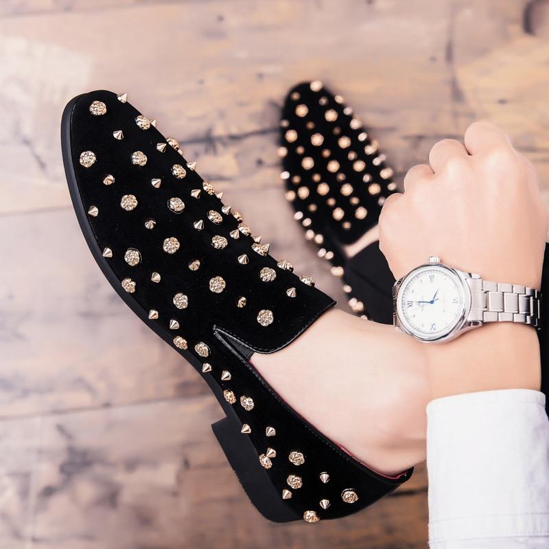 HTB1l3XwXOLrK1Rjy1zdq6ynnpXak New Fashion Gold Top and Metal Toe Men Velvet Dress shoes Italian men's dress shoes Handmade Loafers