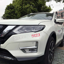 Interior Accessories 2pcs Chrome Car Head Front Fog Light Decoration Lamp Cover Trim  Car-Styling for Nissan Rogue X-Trail 2017